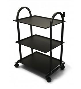 Carrito de Estética Metálica, 3 estantes, Negro